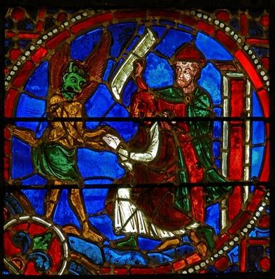 Detail from a window depicting scenes from the miracle of Theophilus