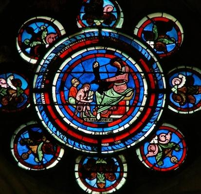 Detail from the north rose window depicting Grammar from the Liberal Arts