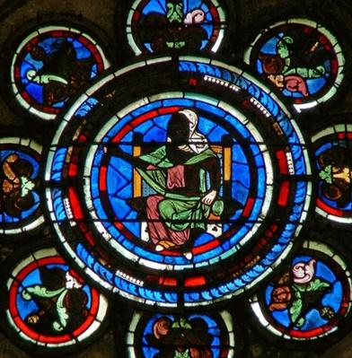 Detail from the north rose window depicting the Liberal Arts