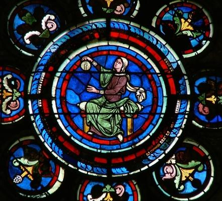 Detail from the north rose window depicting Astronomy from the Liberal Arts