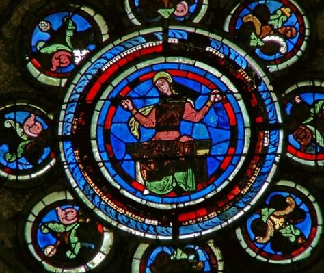 Detail from the north rose window depicting Arithmetic from the Liberal Arts