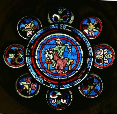 Detail from the north rose window depicting Geometry from the Liberal Arts
