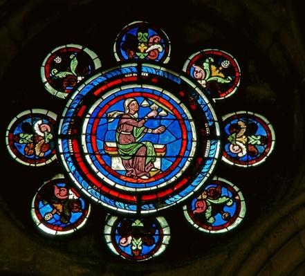 Detail from the north rose window depicting Music from the Liberal Arts