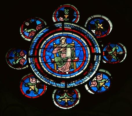 Detail from the north rose window depicting Rhetoric from the Liberal Arts