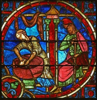Detail from a window depicting the Nativity