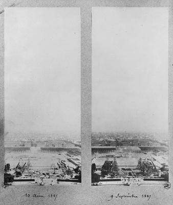 Two views of the construction of the Eiffel Tower, Paris, 10th August and 9th September 1887