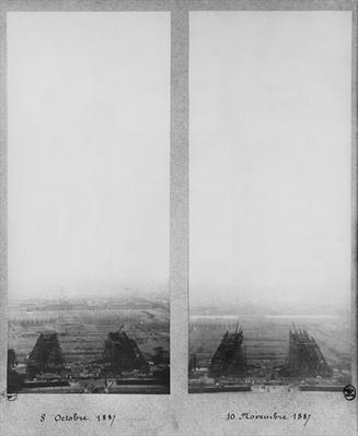Two views of the construction of the Eiffel Tower, Paris, 8th October and 10th November 1887