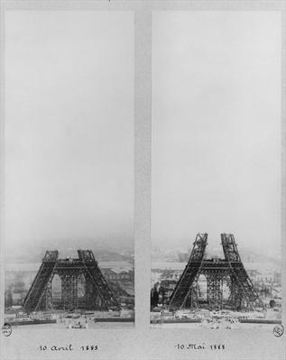 Two views of the construction of the Eiffel Tower, Paris, 10th April and 10th May 1888
