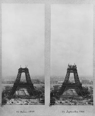 Two views of the construction of the Eiffel Tower, Paris, 14th August and 14th September 1888