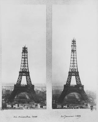 Two views of the construction of the Eiffel Tower, Paris, 26th December 1888 and 20th January 1889