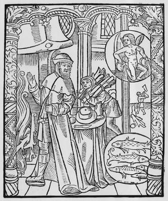 February, interior scene, Aquarius, illustration from the 'Almanach des Bergers', 1491