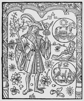 April, flowers, Aries, illustration from the 'Almanach des Bergers', 1491