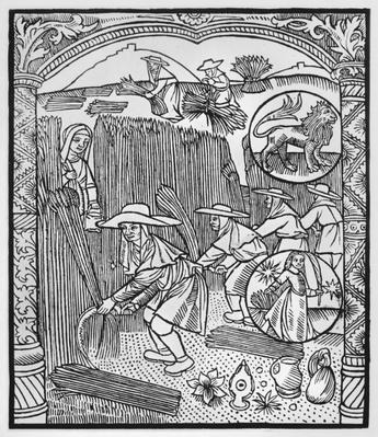 August, harvesting, Leo, illustration from the 'Almanach des Bergers', 1491