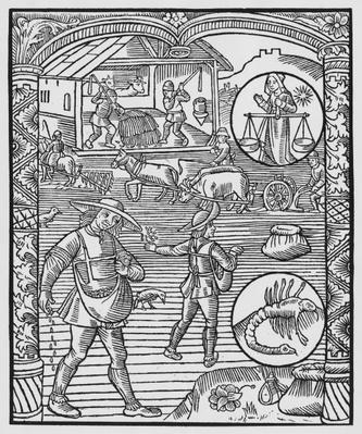 October, sowing, ploughing and threshing, Libra, illustration from the 'Almanach des Bergers', 1491