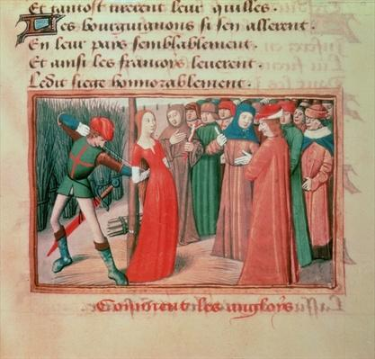Ms Fr 5054 f.71 Joan of Arc at the stake, from 'Les Vigiles de Charles VII' by Martial d'Auvergne, 1484