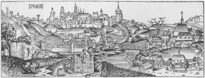 View of Prague, illustration from the 'Liber Chronicarum' by Hartmann Schedel