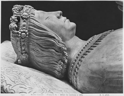 Nantes, St. Peter and St. Paul Cathedral, Tomb of Francis II, Duke of Brittany and Marguerite of Foix, detail of Francis II, 1502-07