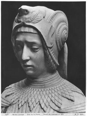 Nantes, St. Peter and St. Paul Cathedral, Tomb of Francis II, Duke of Brittany and Marguerite of Foix, head of Fortitude, 1502-07