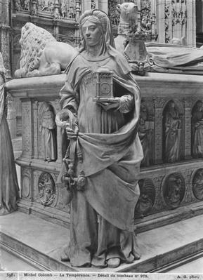 Nantes, St. Peter and St. Paul Cathedral, Tomb of Francis II, Duke of Brittany and Marguerite of Foix, detail of Temperance, 1502-07