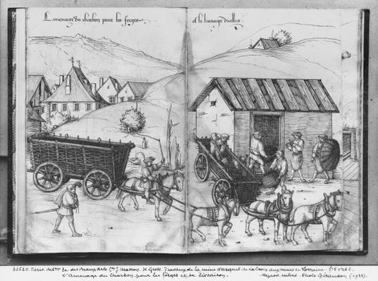 Silver mine of La Croix-aux-Mines, Lorraine, fol.5v and fol.6r, transporting and delivering coal for the forges, c.1530