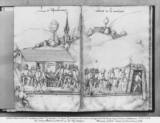Silver mine of La Croix-aux-Mines, Lorraine, fol.7v and fol.8r, collectors entering the mine, c.1530