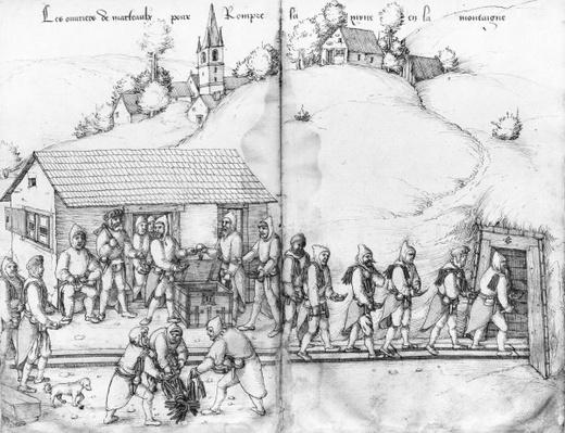 Silver mine of La Croix-aux-Mines, Lorraine, fol.9v and fol.10r, miners and their hammers, c.1530