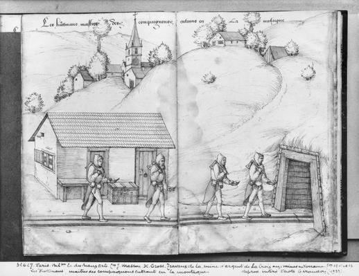 Silver mine of La Croix-aux-Mines, Lorraine, fol.12v and fol.13r, the 'huttmans', masters of the companions, entering the mine, c.1530