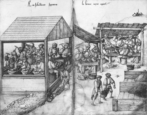 Silver mine of La Croix-aux-Mines, Lorraine, fol.15v and fol.16r, miners sorting the ore out, c.1530