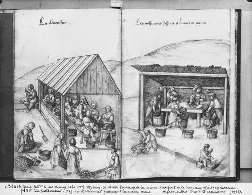 Silver mine of La Croix-aux-Mines, Lorraine, fol.18v and fol.19, sorting out and washing the ore, c.1530