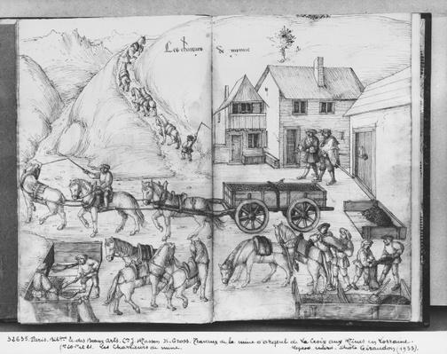 Silver mine of La Croix-aux-Mines, Lorraine, fol.20v and fol.21r, transporting the ore, c.1530