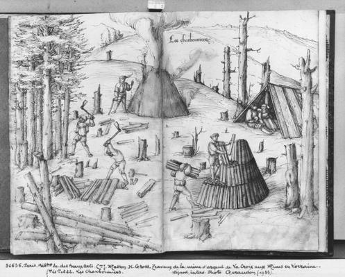 Silver mine of La Croix-aux-Mines, Lorraine, fol.21v and 22r, coalmen, c.1530