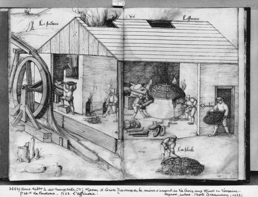 Silver mine of La Croix-aux-Mines, Lorraine, fol.22v and fol.23r, foundry and refining, c.1530