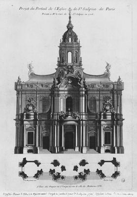 Project for the church of Saint-Sulpice, elevation of the facade, Paris, engraved by Riolet, 1726