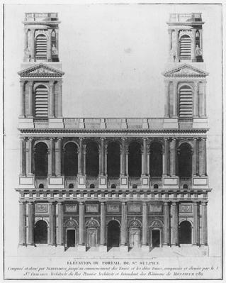 Church of Saint-Sulpice, elevation of the facade, Paris, 1782