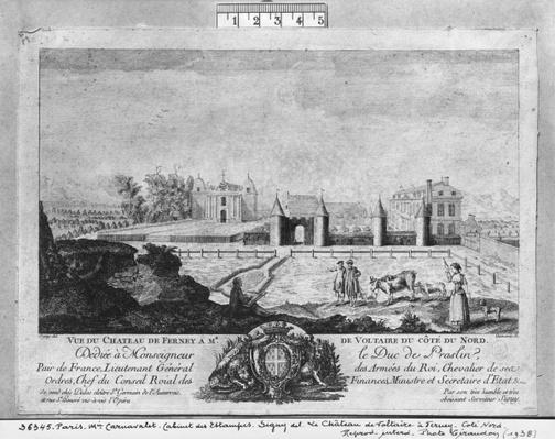 Voltaire's house in Ferney, north side, engraved by Francois, Maria, Isidore Queverdo