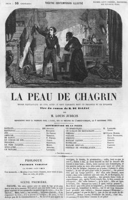 Raphael de Valentin and the shopkeeper, illustration from 'La Peau de Chagrin', drama adapted from the novel by Honore de Balzac