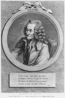 Portrait of Voltaire, from a drawing by Denon made on 6th July 1775