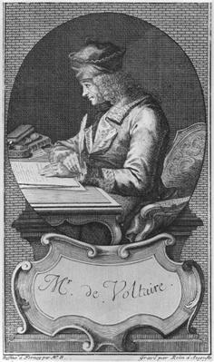 Portrait of Voltaire at Ferney, engraved by Joseph Friedrich Rein