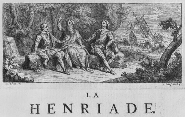 Frontispiece illustration of 'La Henriade' by Voltaire