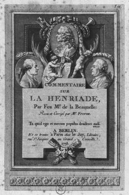 Frontispiece of the commentary by de la Beaumelle of 'La Henriade' by Voltaire, revised and updated by Freron, published in Berlin and Paris, 1775