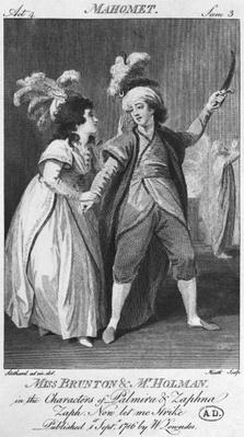 Miss Brunton and Mister Holman as Palmira and Zaphna, illustration from Act IV, Scene 3, of 'Le Fanatisme ou Mahomet le Prophete' by Voltaire
