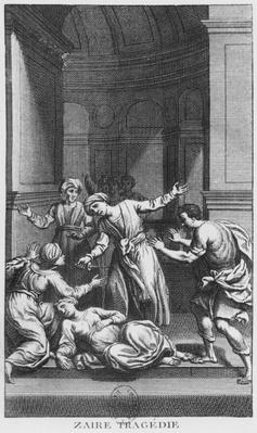 Orosmane killing Zaire, illustration from Act V of 'Zaire' by Voltaire