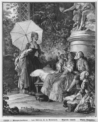The delights of motherhood, engraved by Isidore Stanislas Helman