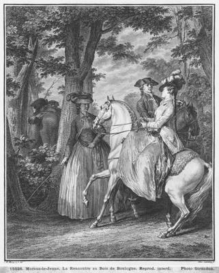 The meeting at the Bois de Boulogne, engraved by Heinrich Guttenberg