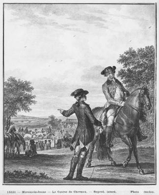 The horse race, engraved by Heinrich Guttenberg