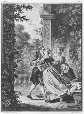 The first kiss of love, volume I, page 37, illustration from 'La Nouvelle Heloise' by Jean-Jacques Rousseau