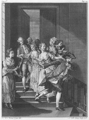 Saint-Preux escaping, volume I, page 279, illustration from 'La Nouvelle Heloise' by Jean-Jacques Rousseau
