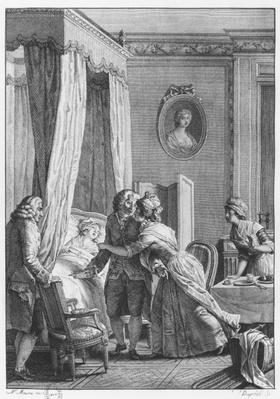 The visit of the doctor from Boson, illustration from 'La Nouvelle Heloise' by Jean-Jacques Rousseau