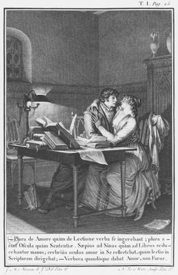 Heloise and Abelard in their study, illustration from 'Lettres d'Heloise et d'Abelard', volume I, page 25, engraved by Noel Le Mire