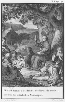 Abelard lecturing among disciples in the deserted Champagne, illustration from 'Lettres d'Heloise et D'Abelard', volume I, page 49, engraved by Jean Dambrun